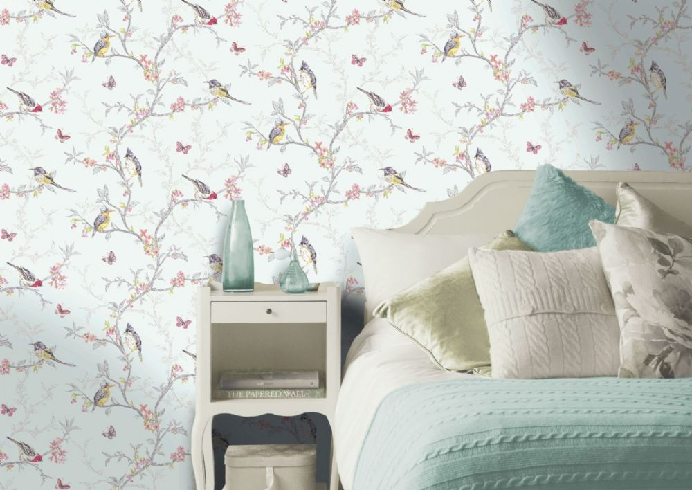 Holden Decor Phoebe Soft Teal Birds 98083 Wallpaper